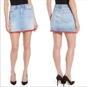 Good American Pom Pom Denim Mini Jean Skirt